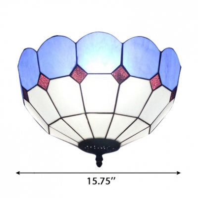 Simple Up Lighting Tiffany Flushmount Light with Stained Glass Lotus Shade in Green/Blue