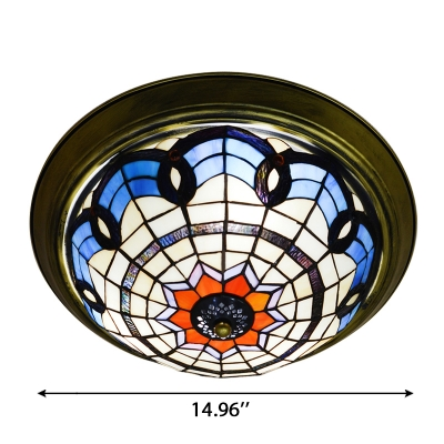 Traditional Euro Style Baroque Design 12/15 Inch Flush Mount Ceiling Light  in Tiffany Style