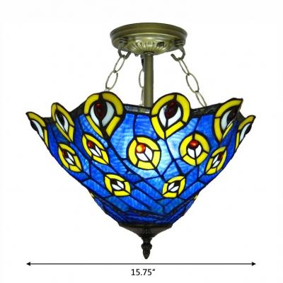 Upward Peacock Pattern 16 Inch 3-light Tiffany Semi Flush Mount Ceiling Light