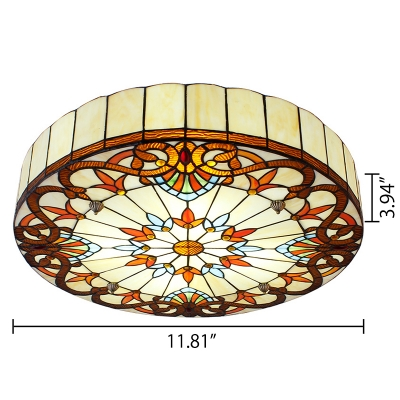 Victorian Style Tiffany Stained Glass Flush Mount Ceiling Light in Drum Shape 11.81