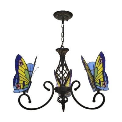 3-Light Yellow&Blue Butterfly Chandelier with Wrought Iron Black Arms for Living Room Kids Room