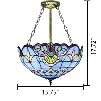 Classic Art Tiffany Baroque Design Inverted Hanging Light with 12