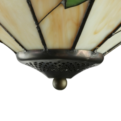 Leaf Accented Pyramid Shade Tiffany Country Style 16 Inch Flush Mount Ceiling Light