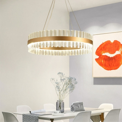 Natural Ice Art Deco Chandelier Brass Metal K9 Crystal Circular LED Chandelier 15.75