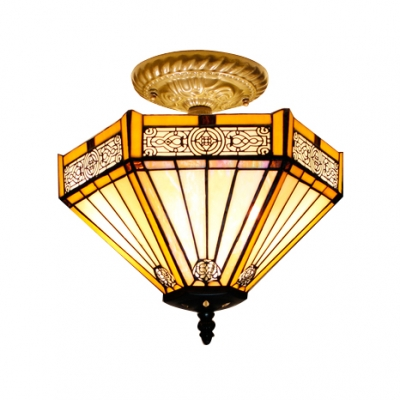 2-Light Geometric Pattern Hexagon Semi Flush Mount Light in Tiffany Stained Glass Style