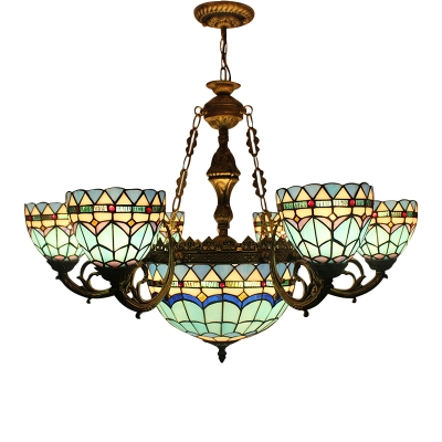 7/9-Head Dining-living Room Up/Down Lighting Mediterranean Style Tiffany Chandelier in Brass Finish