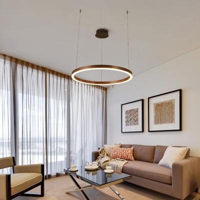 Art Deco Small/Large Hoops Led Chandelier 1 Light/ 3 Light Ambient Led Pendant Lighting 25/113W 3000K/6000K Warm White Light Suspension Light
