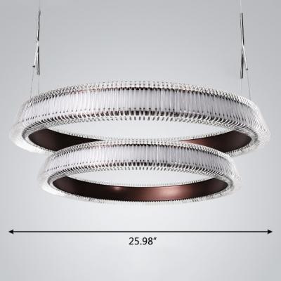 Color-Changing Linear LED Chandelier Creative Designers Brown Metal Tyre LED Pendant Light 54/126/218W Tiered Innertube LED Chandelier