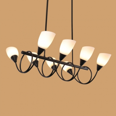 LED Accent Lights 31-40W Flower Shade Chandelier 6 Light/8 Light/10 Light LED UP Lighting Linear Chandelier in Black 3 Sizes for Option