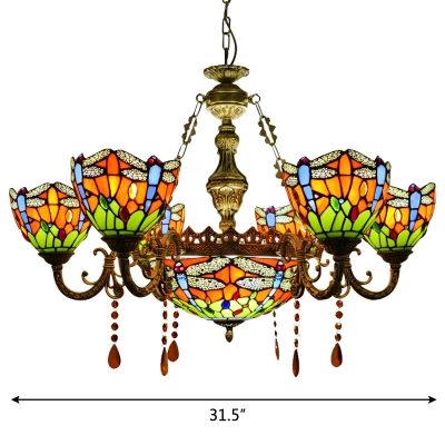 Orange/Blue Dragonfly Pattern 7-Light Center Bowl Chandelier with Amber Crystal Drops