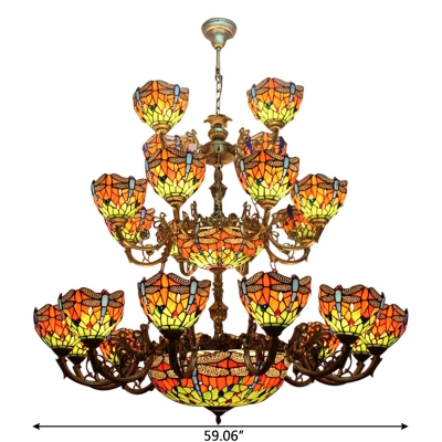 3-Tier Large Size Tiffany Stained Glass Dragonfly Chandelier with 2 Center Bowls