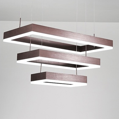Cheap Chandelier Lights Brushed Aluminum Multi Tiered Frame LED Chandelier 18/45/81W 15.75