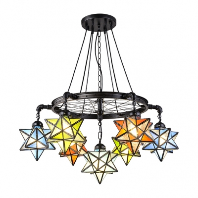 Colorful Star Designed Multi-Light Pendant Light with Black Wheel Decor 3 Sizes for Choice