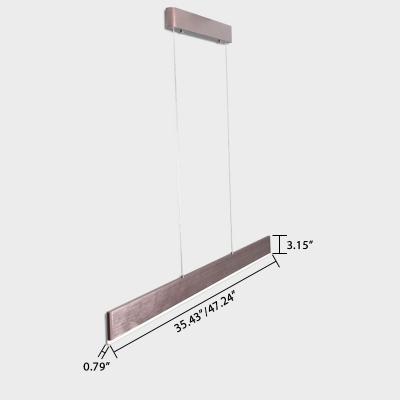 Contemporary Modern Acrylic Lampshade Linear Pendant Light in Brown 26W-33W Led Direct/Indirect Lighting with Various Sizes Cord Adjustable Suitable for Office Conference Room Kitchen Dining Room