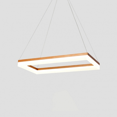 Dining Room Kitchen Island Lighting Acrylic Shade LED Rectangular Chandelier Brushed Gold Tiered 1 Light/2 Light/3 Light 45/80W Frame LED Suspension Fixture