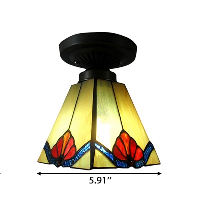 Four Sides Tiffany Flush Mount Light with Red/Blue Flower Pattern in Classic Style