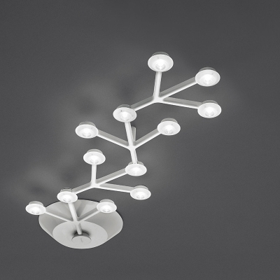 Multi Light Ceiling Fixture White LED Branch Ceiling Lights Ambinet Warm White Linear Flush Mount Lighting in Acrylic Shade