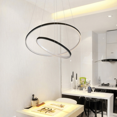 Multi Ring Pendant Light Black Halo LED Chandelier Aluminum Minimalist 1-Light to 5-Light Pendant Lighting for Entryway Foyer Dining Room