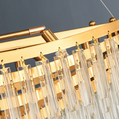 Post Modern Art Decoration Chandeliers Gold Finish 12 Light Boat Shaped LED Chandeliers with Crystal Rods Decoration (31.50