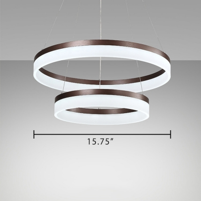 Shabby Chic Chandelier Brushed Aluminum Brown 1 Tier/2 Tier/3 Tier 22/55W LED Ring Pendant Light with Opal Diffused Shade