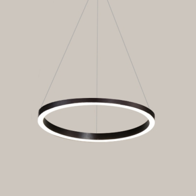 Switch Type Cord Adjustable LED Tiered Chandelier Brushed Aluminum Brown Halo 1 Light/2 Light/3 Light Pendant Lamp (Warm White)