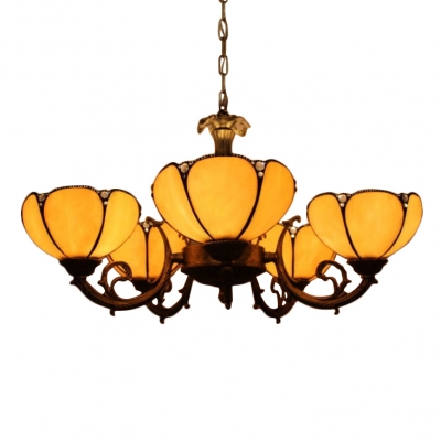 Yellow Stained Glass Flower Shade 3/6 Lights Chandelier for Living Room Hotel Lobby