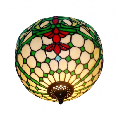 12 Inch Baroque Style Flush Mount Ceiling Light with Tiffany Stained Glass Bowl Shade 2 Designs for Choice
