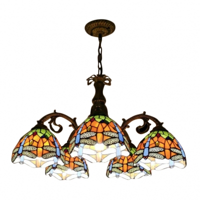 5/8 Lights Tiffany Stained Glass Dragonfly Patterned Chandelier in Wrought Iron Style