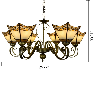 5/6-Light Vintage Stained Glass Shade Inverted Chandelier in Blue/Beige