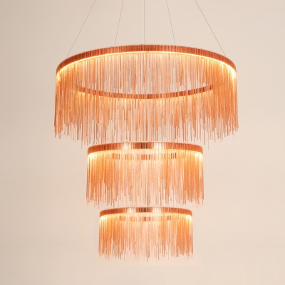Rose Gold Fringe Pendant Light Post Modern Aluminum 1 Tier/2 Tier/3 Tier Designer Metal LED Chandelier for Stores Foyer Hotel Staircase