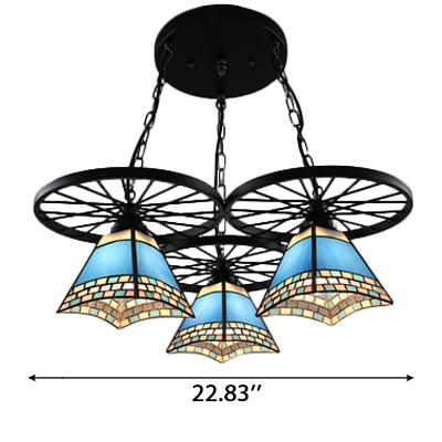 Tiffany Stained Glass Pyramid Shade Multi Light Pendant Light with Wheel Decor 2 Designs for Option