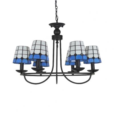 Blue&White Gird Empire Shade Tiffany Art Glass Chandelier in Black Finish 3 Sizes for Choice