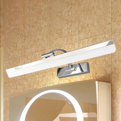 Chrome Finish LED Vanity Light 9W-16W LED Warm White Linear Vanity Fixture in Frosted Shade for Bathroom Cabinet Mirror