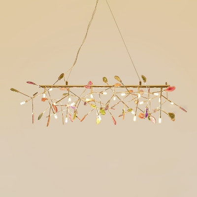 Colorful Accent Chandelier Post Modern Heracleum LED Chandelier Gold 24 Light Branch Pendant Lighting LED Warm White Light for Dining Restaurant Cafe