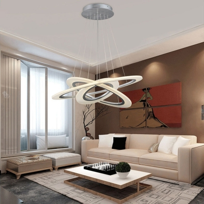 Contemporary Diy Multi Ring Pendant Frosted Shade Novelty White Halo Led Chandelier Dining Room Kitchen Table Light Fixture Beautifulhalo Com