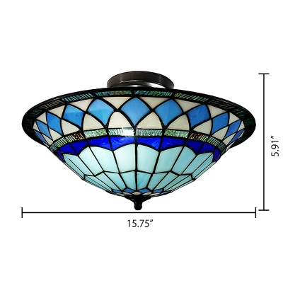 Craftsman Style Tiffany Mediterranean Three Light Flush Mount Ceiling Light