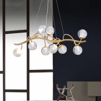 Eco-Friendly Minimalist LED Branch Chandeliers 9 Light 27W LED Ambinet Light Glass Sphere Chandeliers for Dining Room Living Room