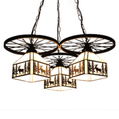 Elk Pattern White Lodge Shade 3-Light Pendant Light with Wheel Decor in Black Finish