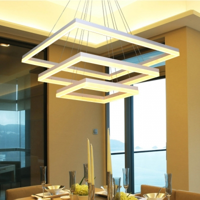 Modern Cheap Chandelier Multi Tiered Rectangular LED Chandelier White Aluminum Anti-Glare Chandelier Light with Adjustable Cord for Dining Room Study Room Office