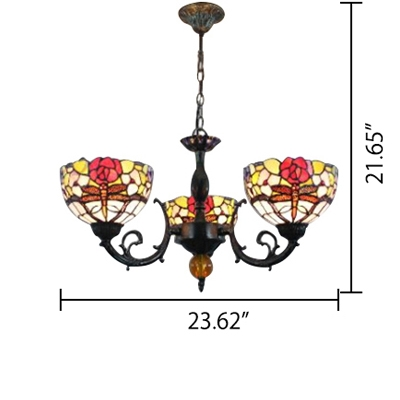 Three Light Dragonfly Mix Flowers Chandelier with Multicolored Glass Shade