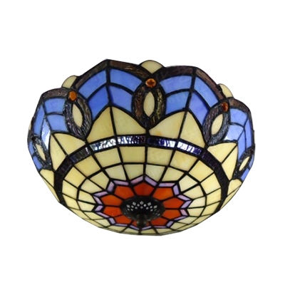 Tiffany Stained Glass Mediterranean Style Semi Flush Ceiling Light 11.81
