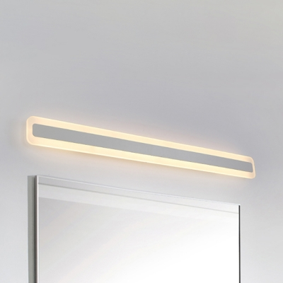 Ultra Thin LED Acrylic Linear Wall Light 14W-24W Ambient Warm White Modern Bathroom Bedside Mirror Panel LED Vanity Light in White Finish