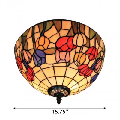 16-Inch Wide Flush Mount Ceiling Light with Flower Pattern Tiffany Art Glass Lampshade