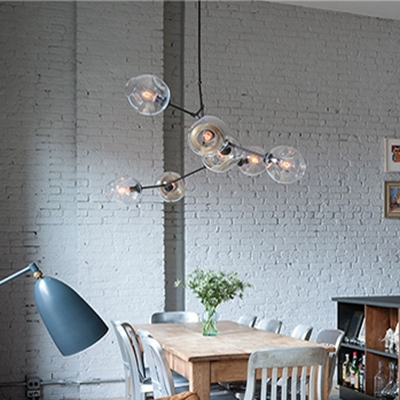 Abstract Multi Arm Chandelier Post Modern 3/5/6/7/8/9 Heads Clear Glass Sphere LED Chandeliers in Black Dining Restaurant Bar LED Branch Pendant Lighting