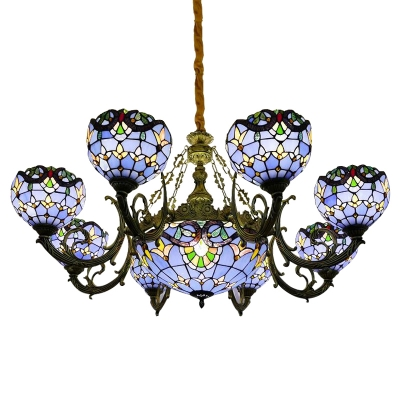 Blue Stained Glass Victorian Style 1/2-Tier Center Bowl Chandelier for Living Room Hotel