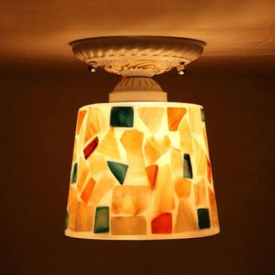 Colorful Shell Shade Tiffany Semi Flush Mount for Hallway Foyer, Handmade, 3 Designs for Choice