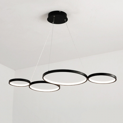 Contemporary Circular Ring Chandelier 60W 3000/4500/6000K 4 Light Large Halo LED Chandeliers in Black for Brilliard Bar Study Room