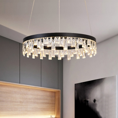 Contemporary Natural Ice LED Chandelier Tiered Small/Medium/Large Halo LED Chandelier 20/50/90W Black Metal Suspended Loop with Hanging Crystal Decoration