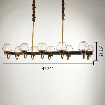 Height Adjustable Aged Brass 8/10 Light LED Linear Chandeliers 36.61