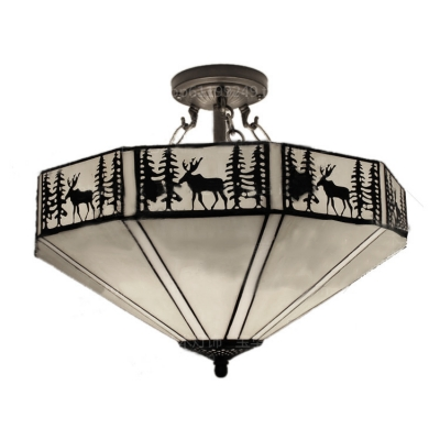 Lodge Style Stained Glass Ceiling Light Fixture Featuring Deer and Tree Pattern